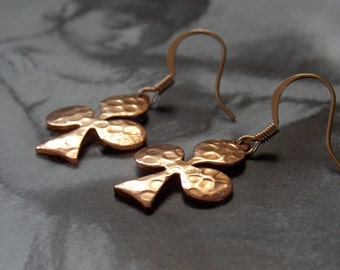 Copper Three Leaf Clover Dangle Earrings,  Hammered, Vintage Club Charms, Rose Gold, Modern, Minimalist, Lucky Charms