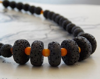 Amber and Black Lava Beaded Gold Neckalce, Vintage Gold Plated Chain, Adjustable, Modern, Summer Fashion