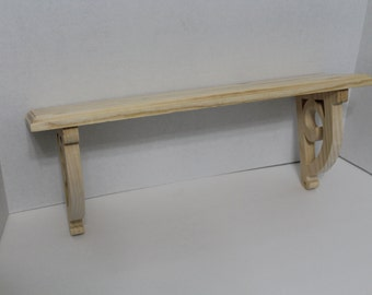 Unfinished Pine Shelf with Scroll Bracket