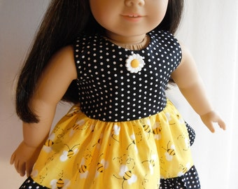 Doll Clothes Cute Bumble Bees Dress Black and White Polka Dots Fits Most 18 Inch Dolls