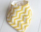 Bandana Dribble Bib Organic Jersey & Unbleached Bamboo Terry Sunshine Yellow Chevrons - An Eco-Friendly Gift Idea by Cwtch Bugs