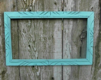 Tropical Blue Frame Aqua Turquoise Shabby Chic Distressed Picture Photo Wedding Decoration Beach Cottage Seaside Home Decor Gift for Her Him