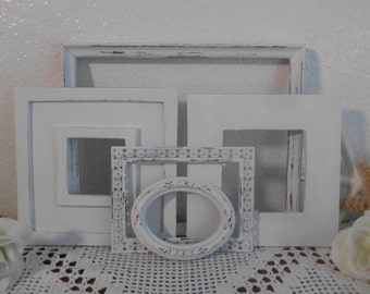 White Shabby Chic Frame Set Rustic Distressed Picture Photo Paris French Country Farmhouse Beach Cottage Home Decor Birthday Gift for Her