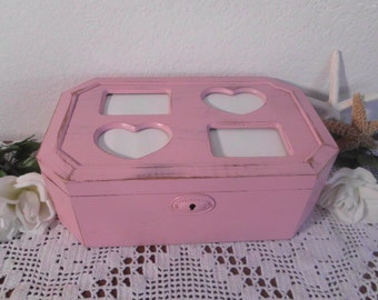 Pink Jewelry Box Rustic Shabby Chic Distressed Beach Cottage French Country Farmhouse Paris Home Decor Birthday Christmas Gift For Her