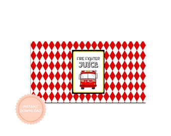 FIRE TRUCK  Birthday - Instant Download-Printable Juice Box Wraps - Libby Lane Press