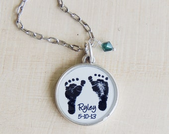 Baby Footprint Necklace - CUSTOM Mother's Necklace - Baby Footprints - Child's Footprints - Mother's Day Gift - New Mom - Infant Loss