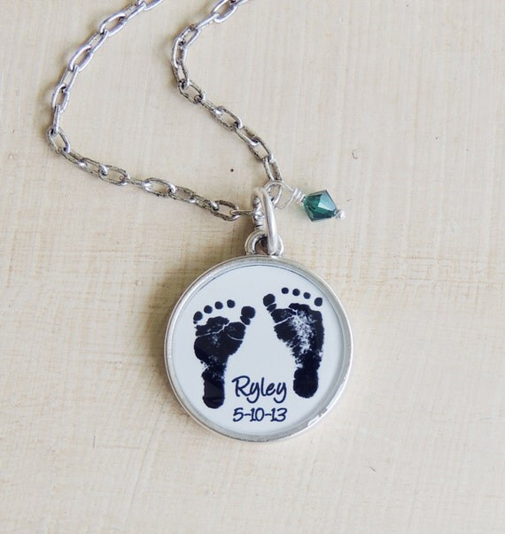 Baby Footprint Necklace - CUSTOM Mother's Necklace - Baby Footprints - Child's Footprints - Mother's Day - New Mom - Infant Loss