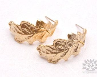 E216-MG// Matt Gold Plated Curly Leaf Post Earring, 2 pcs