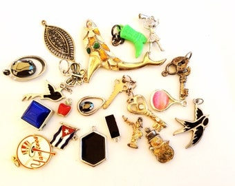 CLEARANCE Salvaged pendants charms assortment salvaged lot recycle reuse 20 pieces lot 07