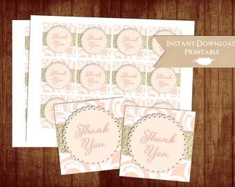 Baby or Bridal Shower Blush and Gold Glitter Damask Printable Thank You Favor Tags for Birthday Party INSTANT DOWNLOAD