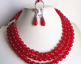 JADE SET- 3 rows 10mm red jade  necklace earring & ring set