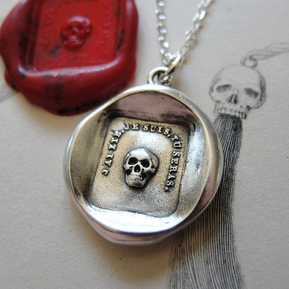 Skull Wax Seal Necklace Remember Your Mortality - antique wax seal charm jewelry French Memento Mori by RQP Studio
