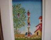 Vintage Brazilian Folk Painting of Pau de Sebo
