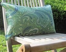 """Indoor Outdoor Pillows, Green Paisley Lumbar Covers,Pillows, Lumbar Pillows,12""""x18"""" inch decorative pillow,outdoor decor,patio decor"""