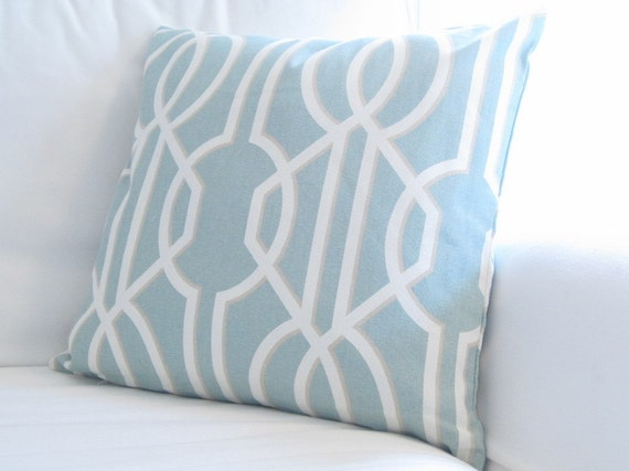 Items similar to Powder Blue Trellis Lattice Pillow Cover, Blue Chair Pillow, decorative pillow ...