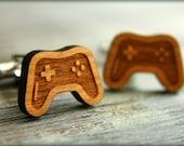Video Game Controller Cuff Links, Laser Cut Wood