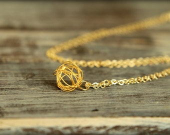 Wire Knot Necklace, Available in Silver and Gold