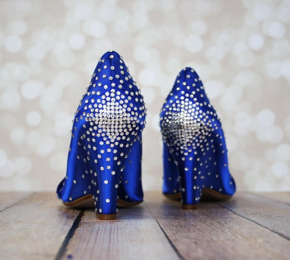 Blue Wedding Shoes Wedding Wedges Bling Wedding Bling