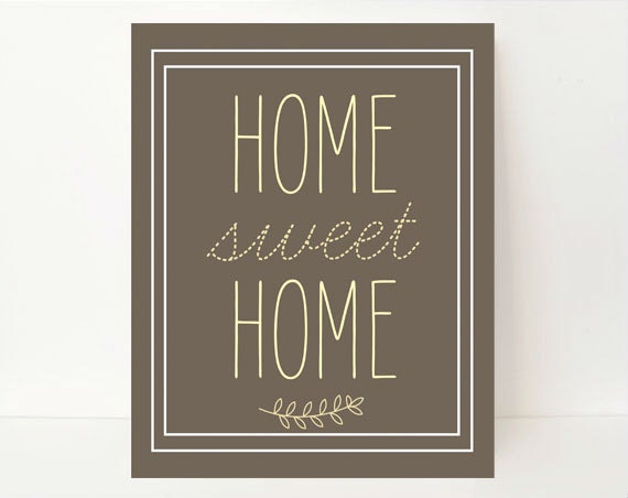 Home sweet home print modern rustic wall art print gray 8x10 Home sweet home wall decor