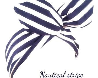 Navy blue & white stripe nautical sailor PIN UP wire ROCKABILLY Headband Hair Wrap
