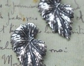 Two Brass Leaves, Sterling Silver Ox Finish