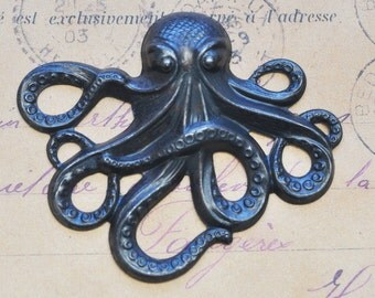 Large Steampunk Brass Octopus -Black Satin Finish
