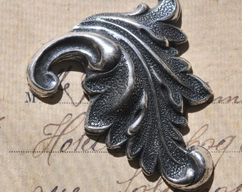 Neo Victorian brass curl, Sterling Silver Finish