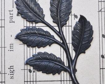 Large Neo Victorian brass leaf spray, black satin finish