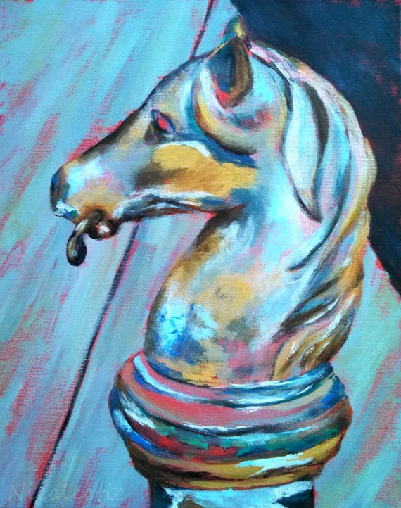 New Orleans art, horse post, horse hitching post, French Quarter, metal horse head, horse paintings, horse doorknocker, painted horse