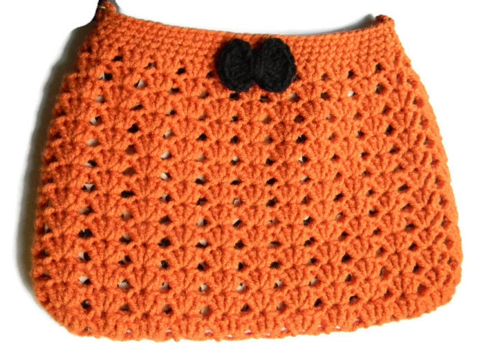 Lining Crochet Bag : Crochet Orange Black Hobo Bag Fabric Lined Purse by jwhizcrochet