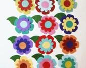Wool Felt Flowers Die Cut 48 Piece Set- Random Color Mix