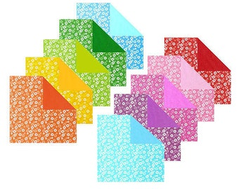 Double Sided Origami Paper - Plain, Flowery Patterns II - 20 Sheets