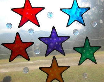 rainbow stars and sparkly dots Suncatcher window sticker/decal stained glass style Sunshiner