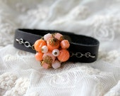 Vintage Leather Cuff Bracelet, Coral Cluster Earring, Leather Jewelry, Coral Leather Cuff Bracelet, Peach Jewelry, Coral Pink Wedding