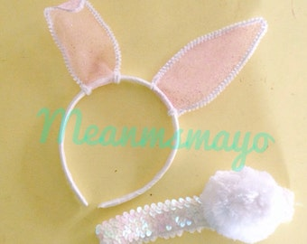 Little Girl White and Pink Glitter Bunny Ears and Sequin Tail