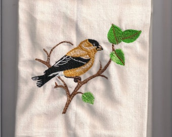 New Tea Kitchen towel embroidered GoldFinch