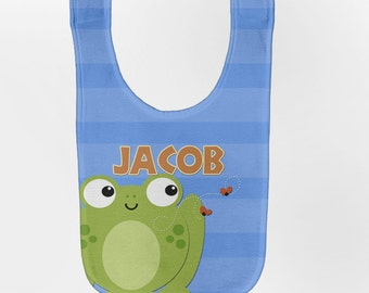 Frog Baby Bib - Personalized Infant Blue Stripe Bib