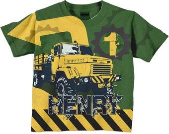 Boys Dump Truck Shirt, Personalized Construction Birthday Number T-Shirt