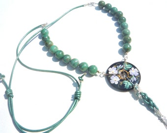 Gemstone Necklace, African Jade Gemstones Necklace,Gemstones and leather, Bohemian Chic Necklace, Adjustable Necklace,