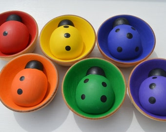 Babies First Counting Sorting  Montessori Wooden Rainbow Sensory Toy 6 Ladybugs And 6 Bowls