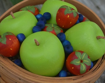 Pretend Fruit Wooden Toy Apples Strawberries and Blueberries