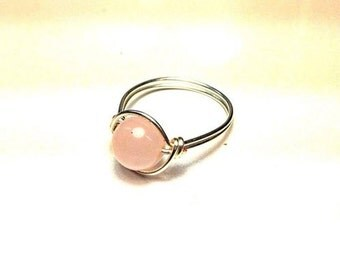Rose Quartz Ring - Silver Wire and Pink Stone - Healing Stone - Made to Order