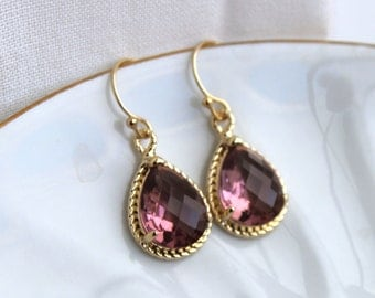 Eggplant Plum Earrings Purple Gold Teardrop Earrings Bridesmaid Earrings Eggplant Wedding Earrings Plum Jewelry Valentines Day Gift