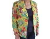 """Vintage 80s novelty fruit print yellow jacket blazer / L - XL B44"""""""