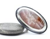 Pandora Agate Ring, Sterling Ring, Designer Gemstone, Pink Ring, OOAK Statement Ring, Size 7