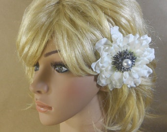 Bridal Hair Flower-Ivory Zinnia Flower Clip-Flower Clip with Pearls Rhinestones-Bridal Accesories