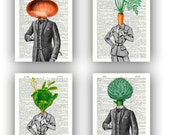Kitchen art Print, Vegetable prints, Set 4 prints,carrot, cabbage lady, onion,  artichoke man, print paper dictionary, botanical vegetable