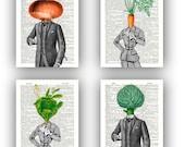 Kitchen art Print, Vegetable prints, Set 4 prints,carrot, cabbage lady, onion,  artichoke man, print paper dictionary, botanical vegetable