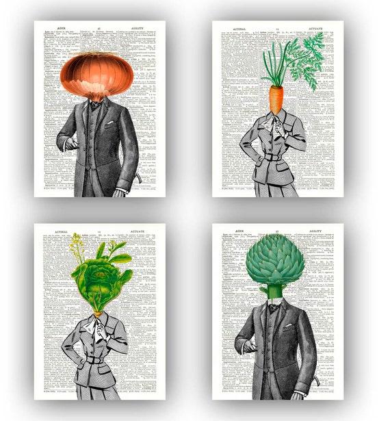 stampe darte cucina stampa verdura set 4 stampe signora cavolo