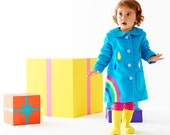 Rainbow coat jacket for toddlers,children in blue moleskin
